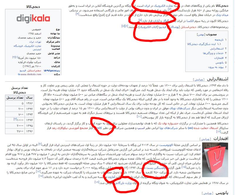 لینک دادن صفحه ویکی پدیا دیجی کالا به سایر شرکت ها